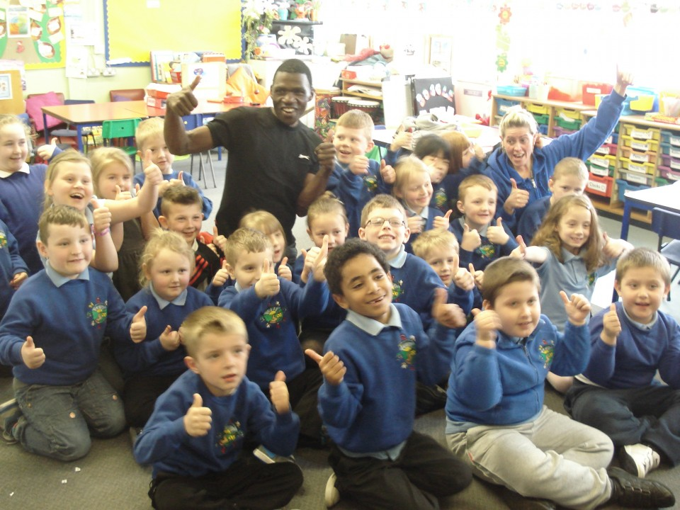 Geoffrey Visiting Blaen-Y-Maes School
